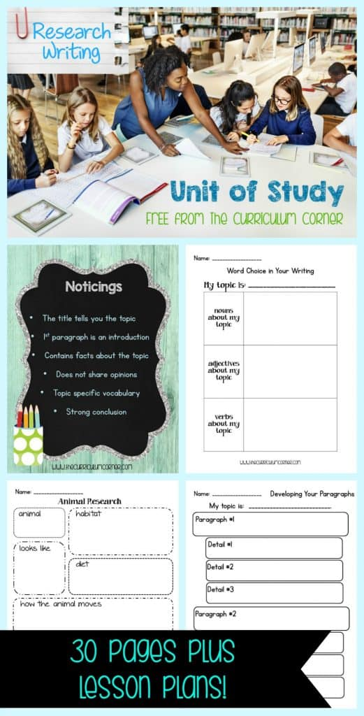 Research Writing Unit of Study FREE from The Curriculum Corner - mini lessons, anchor charts, graphic organizers & more! FREEBIE UNIT!