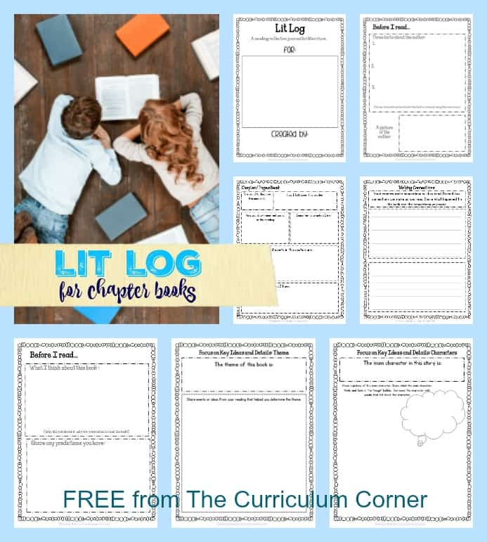 FREEBIE Lit Log for Chapter Books | Reading Reflection | FREE from The Curriculum Corner