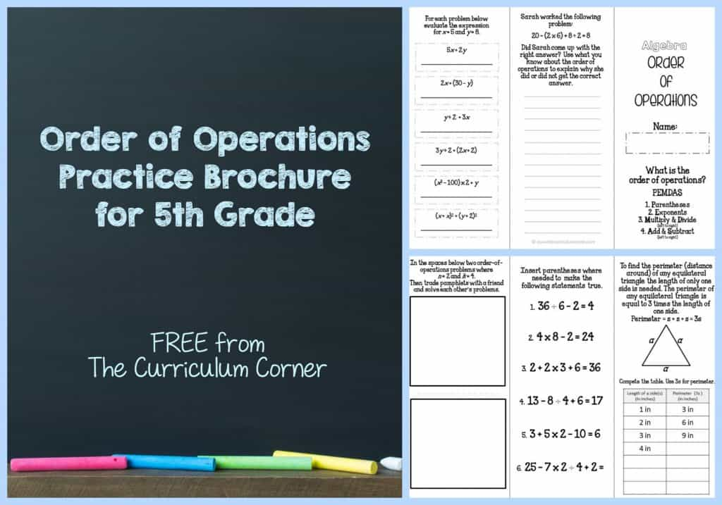 FREE Order of Operations Practice Brochure for 5th Grade | Algebra | FREEBIE