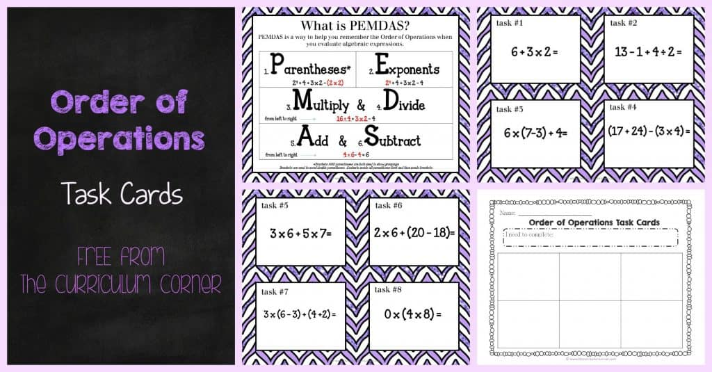 FREE Order of Operations task cards for 5th grade from The Curriculum Corner