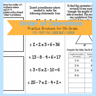 Order of Operations Brochure (5th)