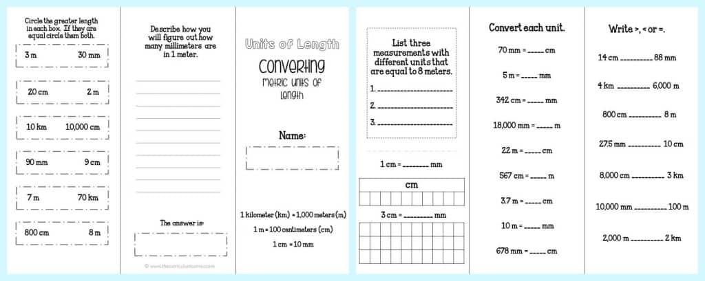 FREE Converting Metric Units of Length FREEBIE practice brochure from The Curriculum Corner