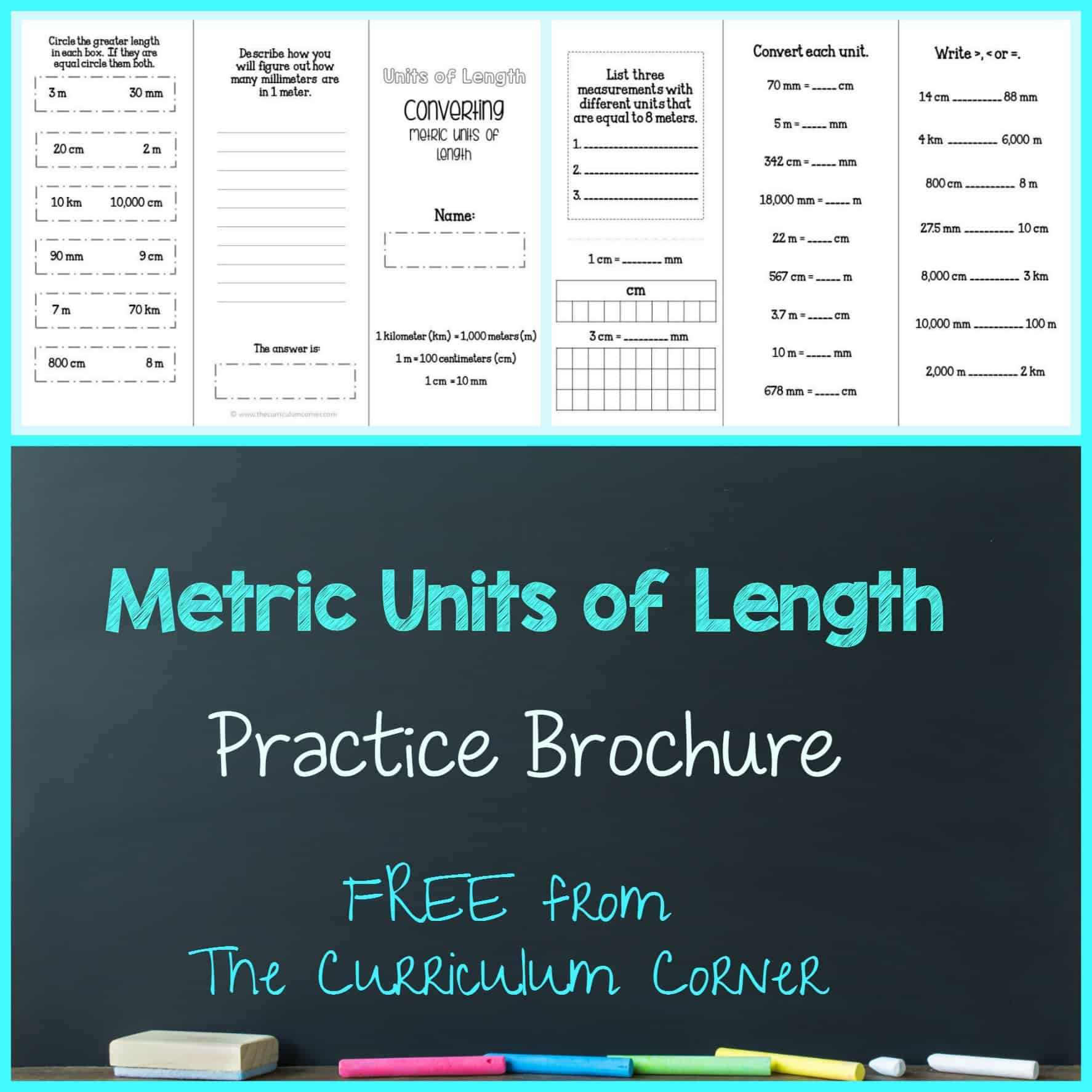 converting metric units of length brochure - the curriculum corner 4-5-6