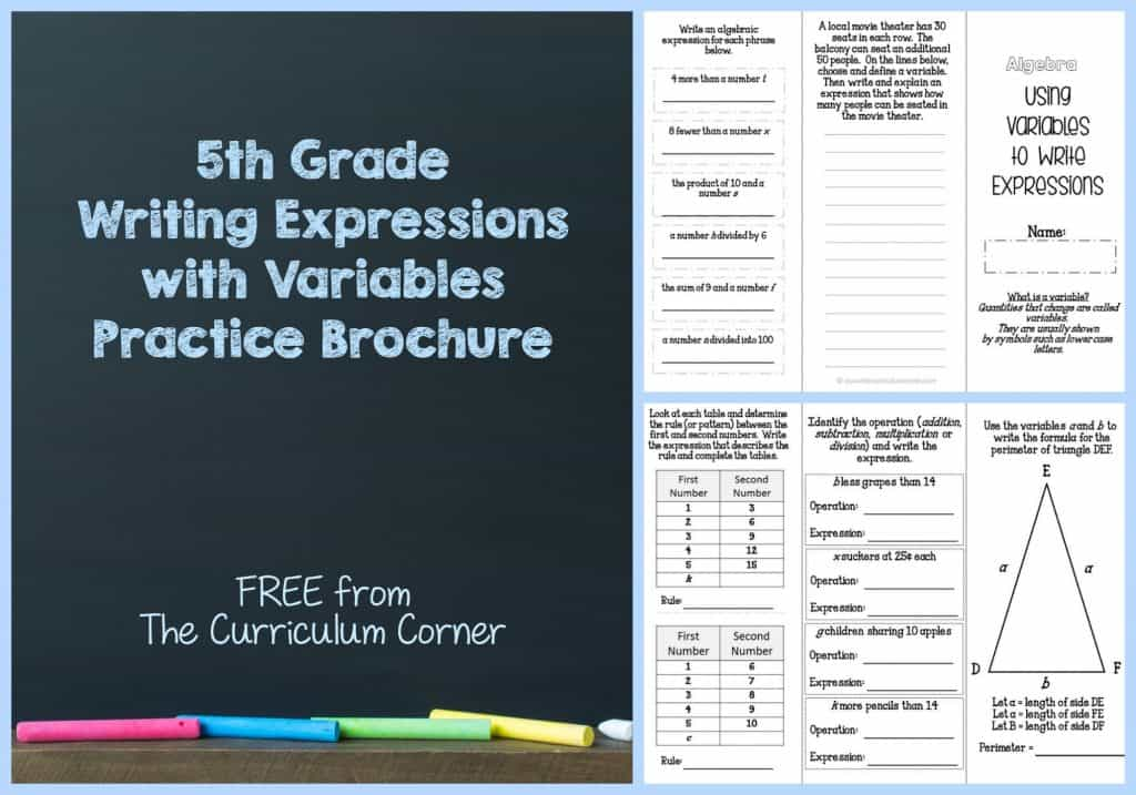 FREEBIE Writing Expressions Using Variables for 5th Grade | Math | The Curriculum Corner FREE!