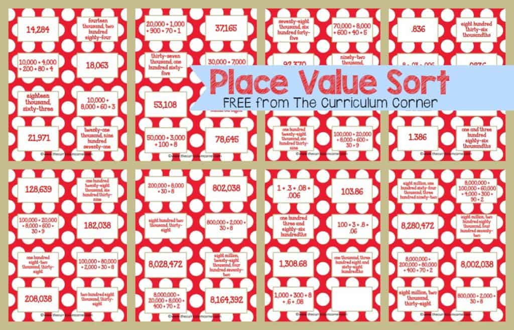 Frosty Fun Math Centers for 4th & 5th Grades | Winter Themed FREE from The Curriculum Corner | Place Value Sort & more