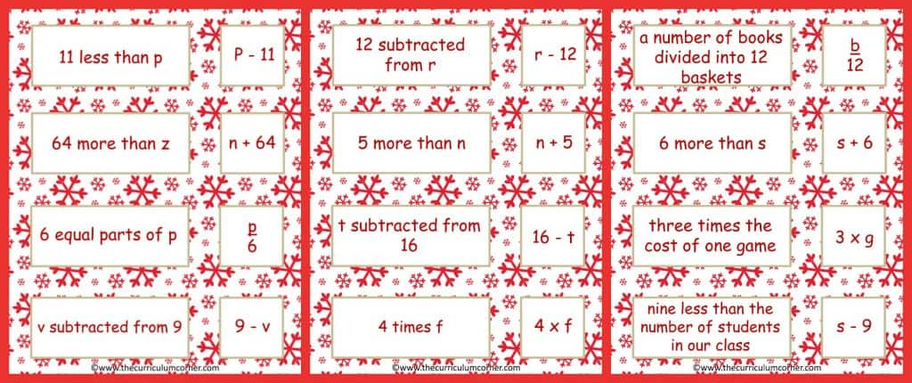 Frosty Fun Math Centers for 4th & 5th Grades | Winter Themed FREE from The Curriculum Corner | expressions sort