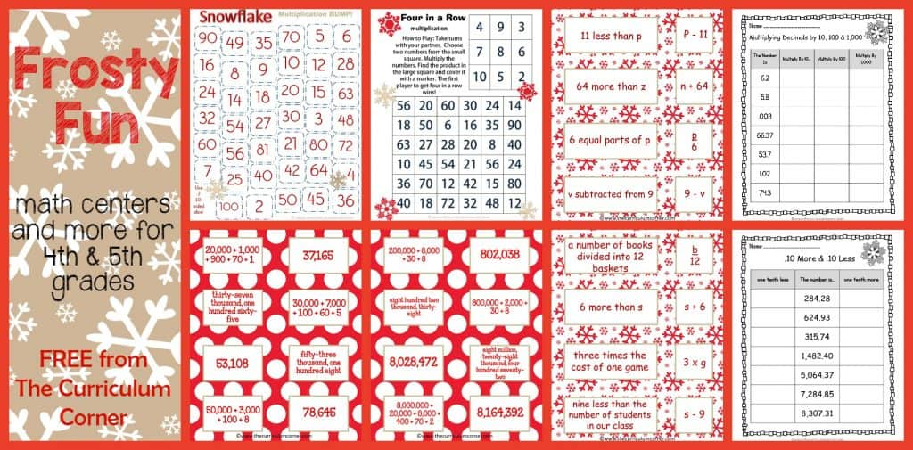 Frosty Fun Math Centers for 4th & 5th Grades | Winter Themed FREE from The Curriculum Corner | Place Value, Computation & more