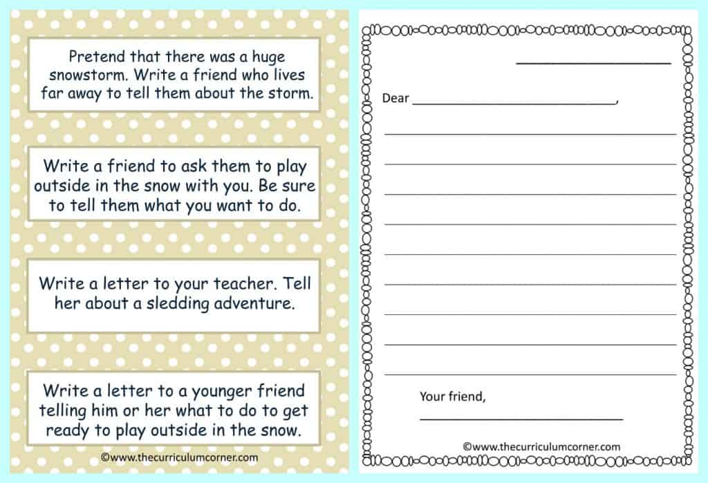 FREE Fantastic Flurries Winter Reading Centers from The Curriculum Corner Friendly Letter