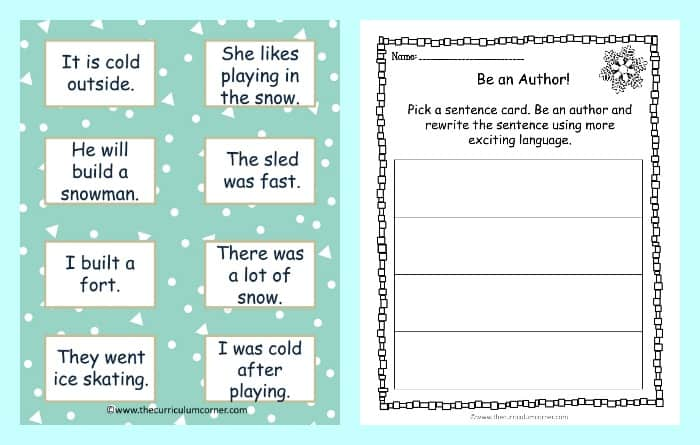 FREE Fantastic Flurries Winter Reading Centers from The Curriculum Corner Writing like an Author