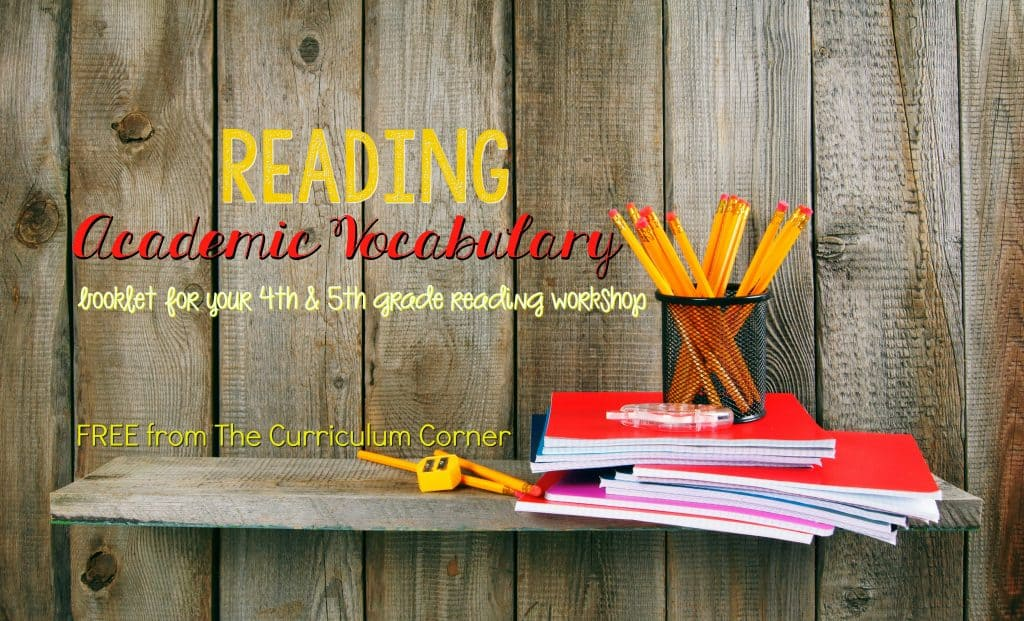 FREE Academic Vocabulary Booklet for Reading | Reading Workshop | The Curriculum Corner