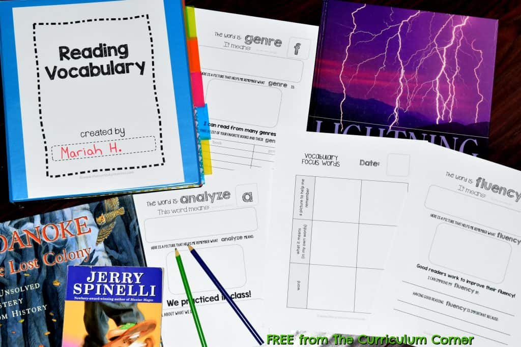FREEBIE! Reading Vocabulary | Academic Vocabulary | The Curriculum Corner
