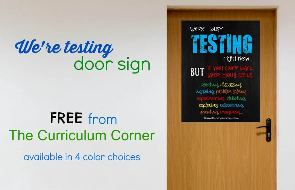 FREE We're Testing Sign from The Curriculum Corner