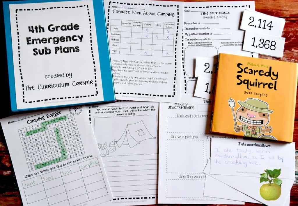 These free 4th grade sub plans have been created by The Curriculum Corner and are perfect for when something unexpected happens and you can't make it to school!