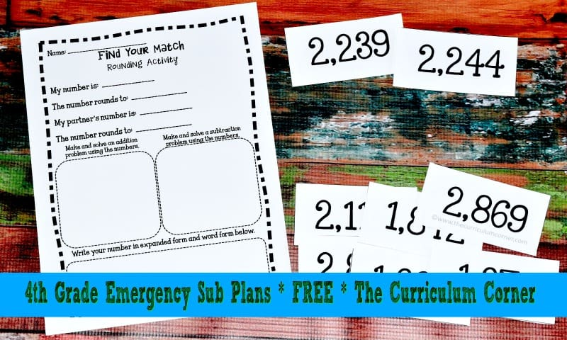 FREE 4th Grade Sub Plans from The Curriculum Corner FREEBIE