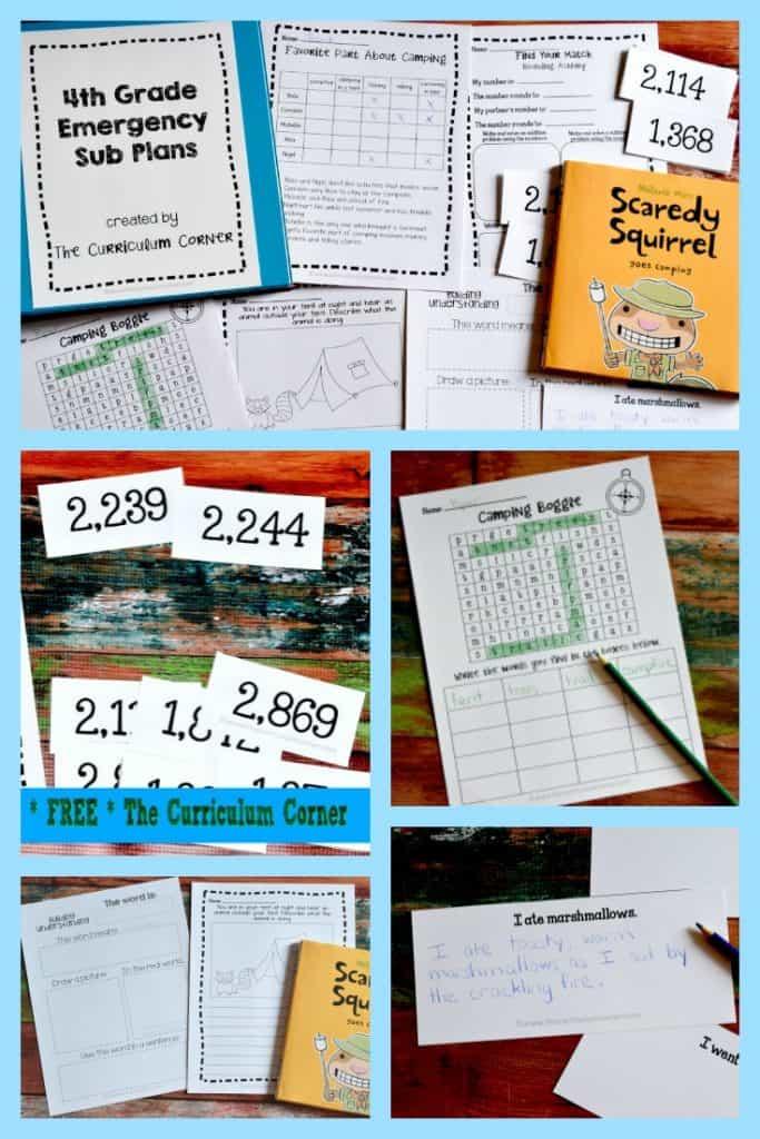 FREE 4th Grade Sub Plans
