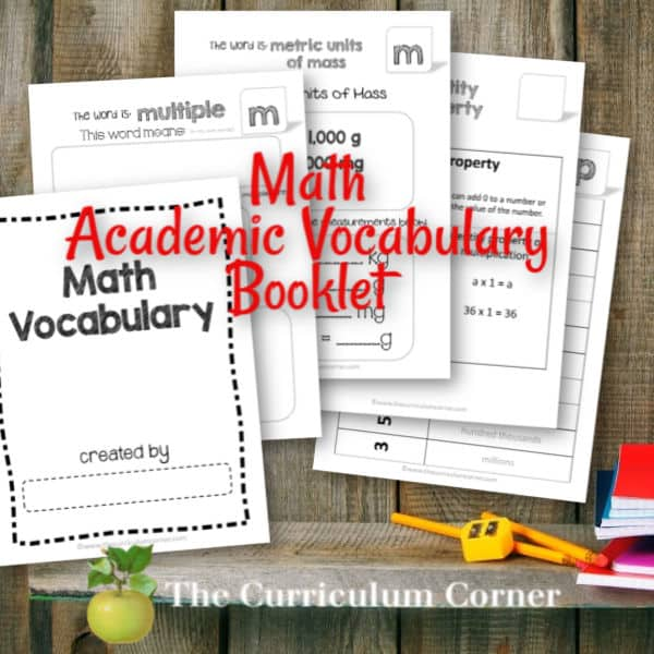 Math Academic Vocabulary Booklet