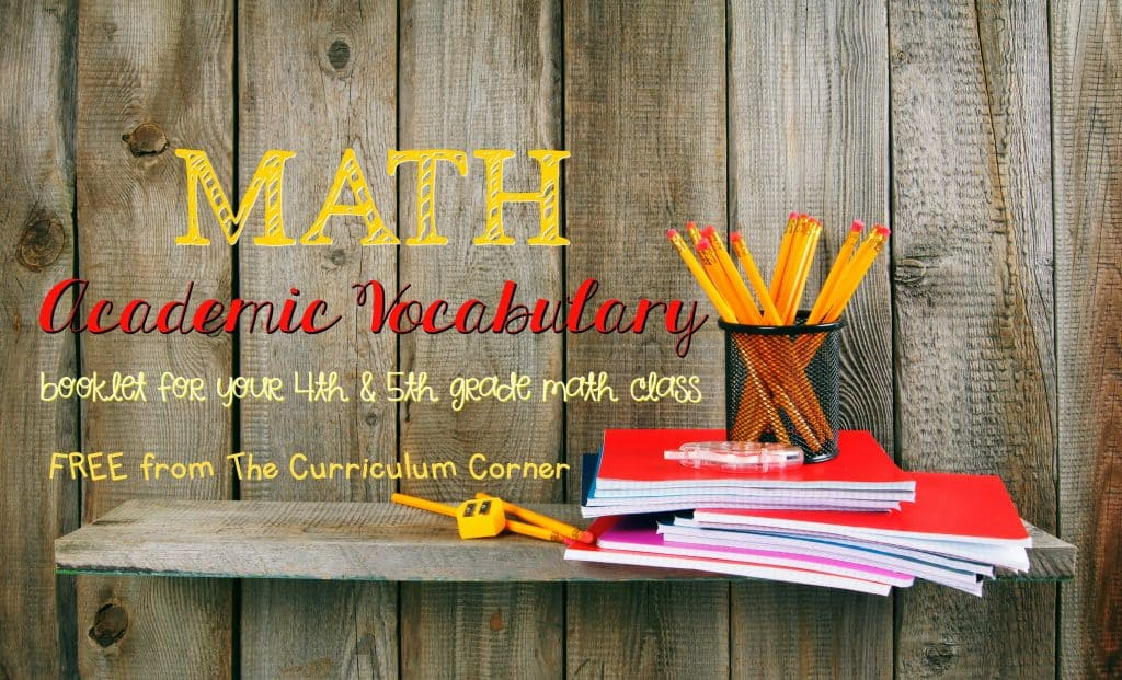 FREE Academic Math Vocabulary Booklet from The Curriculum Corner | FREEBIE