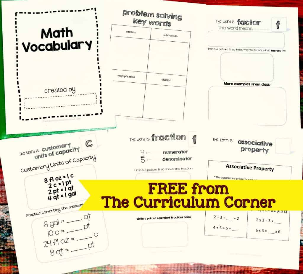 FREE Academic Math Vocabulary Booklet from The Curriculum Corner
