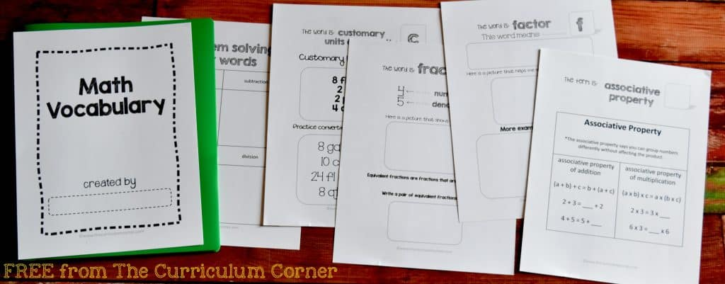 FREE Academic Math Vocabulary Booklet from The Curriculum Corner FREEBIE