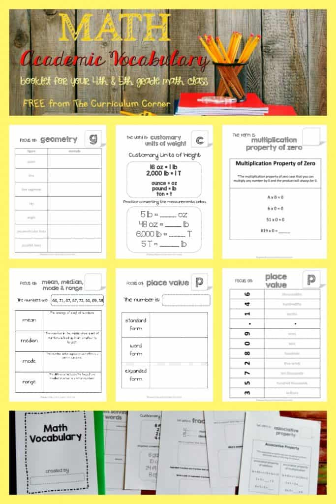 FREEBIE Academic Math Vocabulary Booklet from The Curriculum Corner