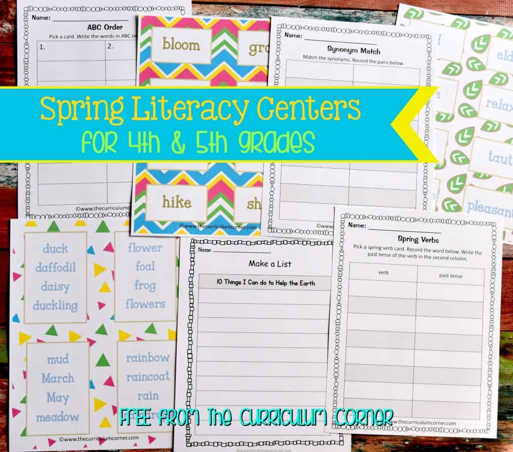 FREE Spring Literacy Centers for 4th & 5th Grades