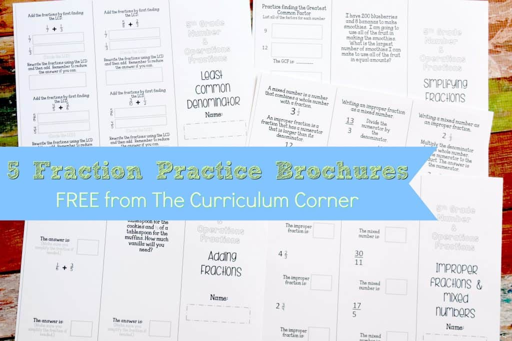 Fraction Practice FREE from The Curriculum Corner