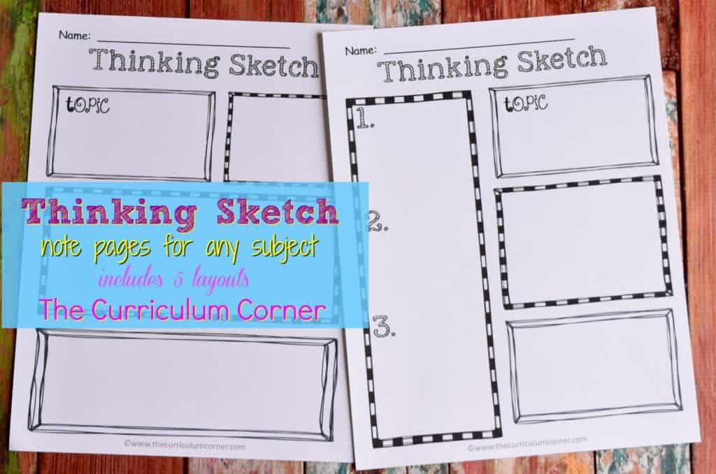 FREE Thinking Sketch Notetaking pages from The Curriculum Corner 2