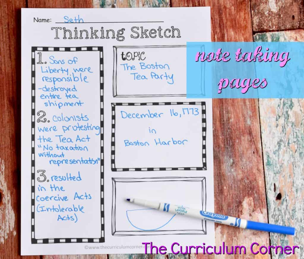 FREE Thinking Sketch Note taking pages from The Curriculum Corner 3