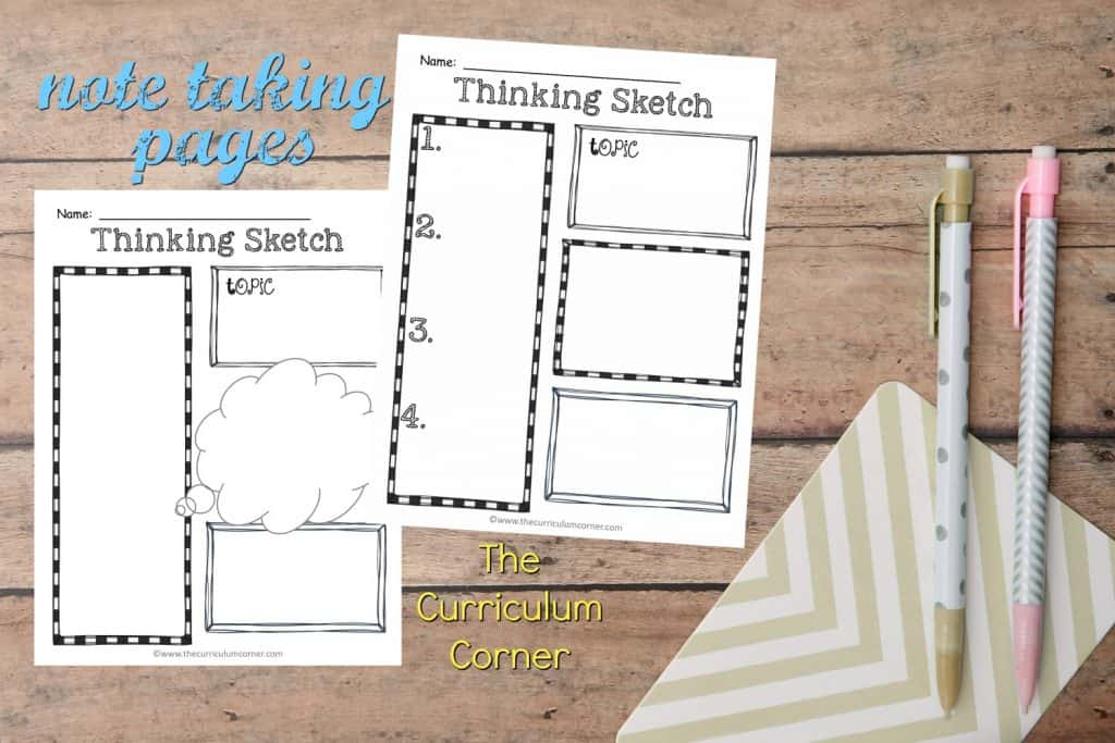 These free note taking pages are great for helping your students record their thoughts in a more creative way.