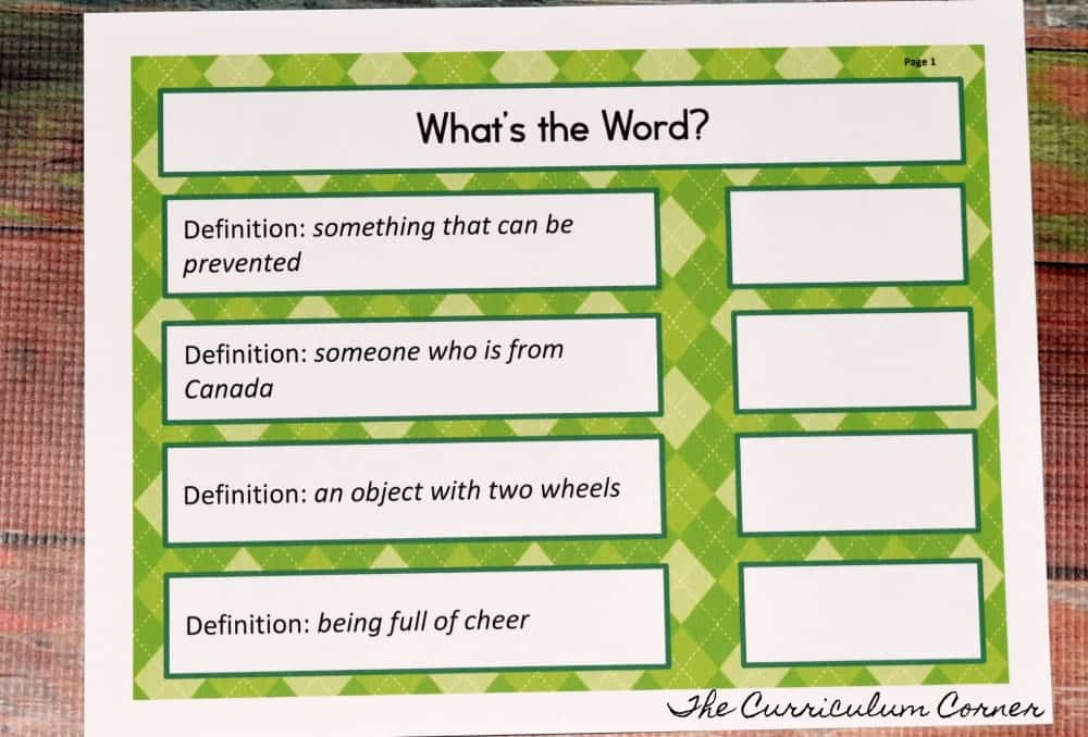 FREE Suffix Collection from The Curriculum Corner
