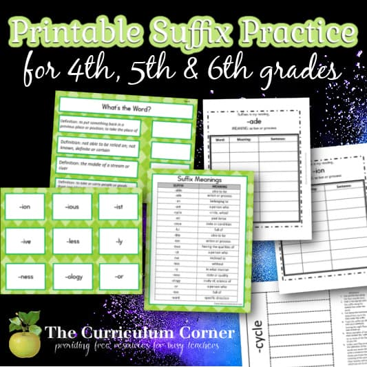 Printable Suffix Practice Collection