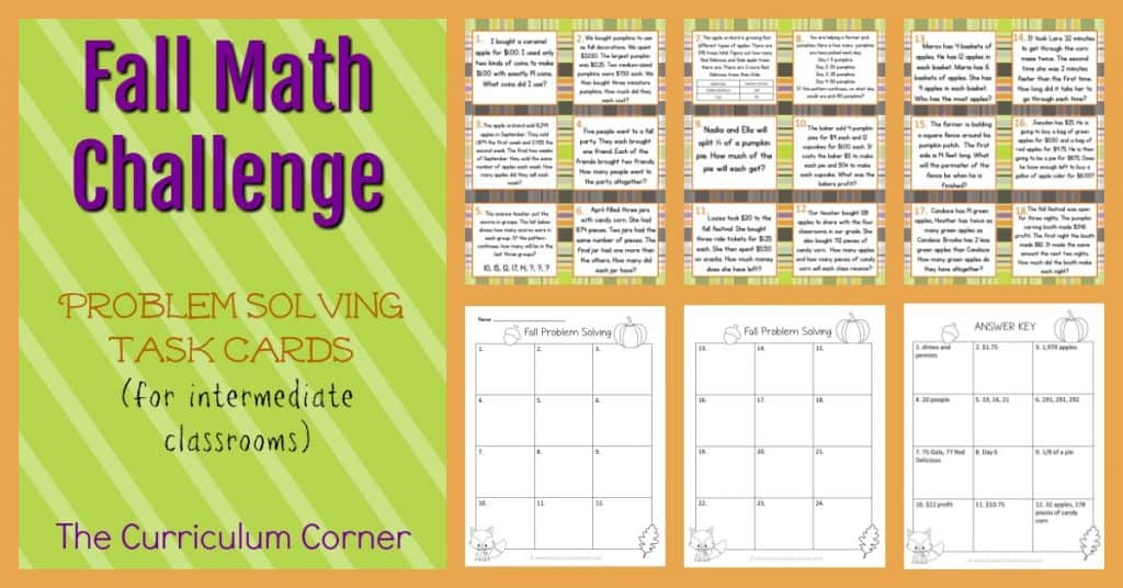 FREE Fall Problem Solving | Math Challenge | Word Problems | The Curriculum Corner