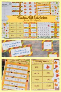 FREE Fall Math Centers for 4th & 5th Grades from The Curriculum Corner