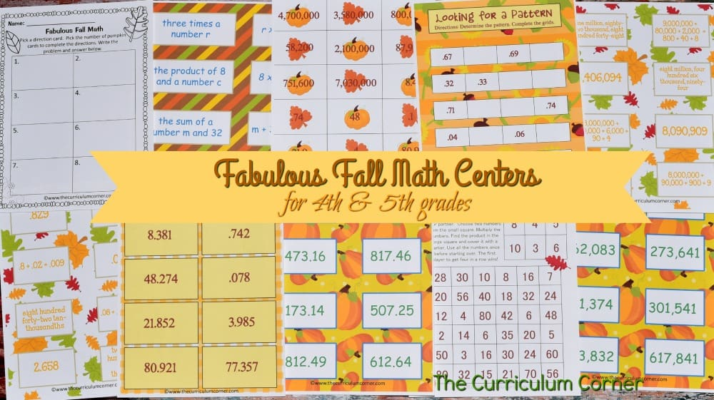 FREE Fall Math Centers for 4th & 5th Grades from The Curriculum Corner 4