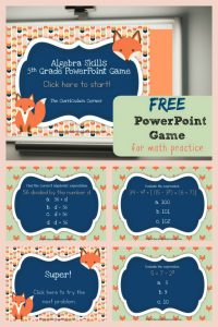 FREE 5th Grade Algebra Game for PowerPoint from The Curriculum Corner | Order of Operations 3