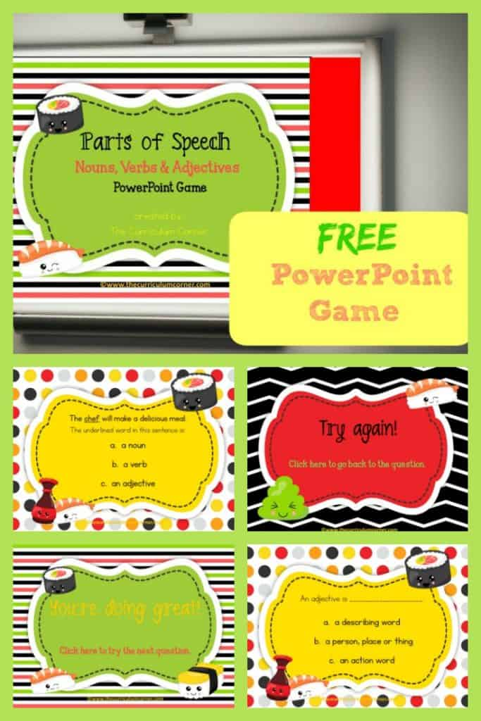 FREE Parts of Speech PowerPoint Game | The Curriculum Corner | Nouns, Verbs, Adjectives 2