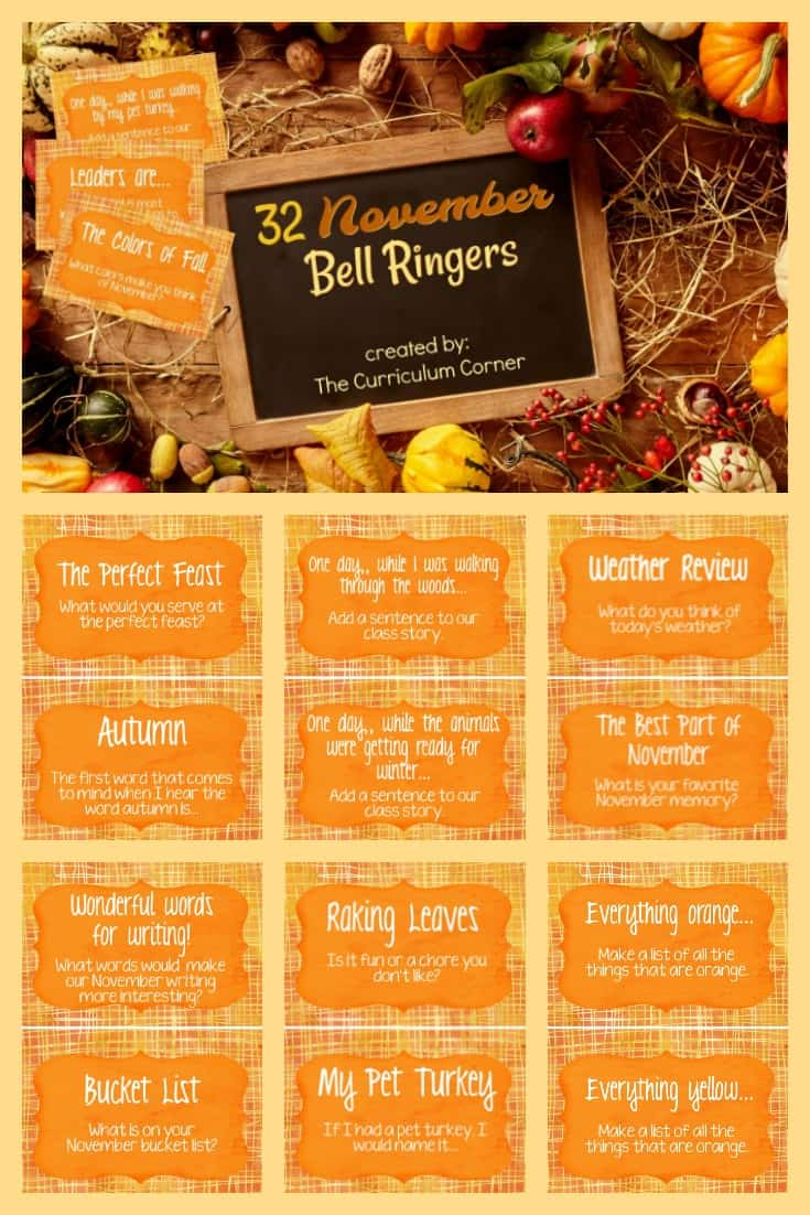 FREE November Bell Ringers Morning Welcome Prompts from The Curriculum Corner