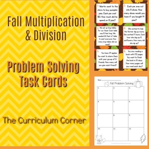 Fall Problem Solving Mult & Div Cards