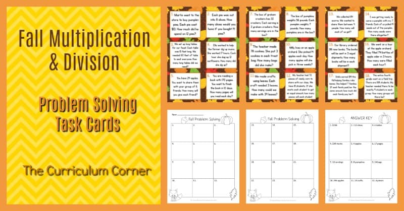FREE Fall Multiplication Problem Solving & Fall Division Problem Solving Word Problems from The Curriculum Corner