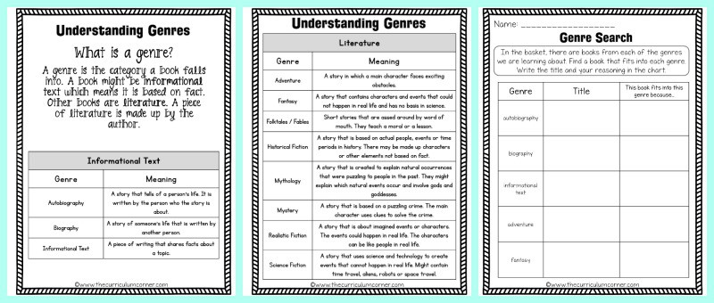 FREE Identifying Genres Collection from The Curriculum Corner 6