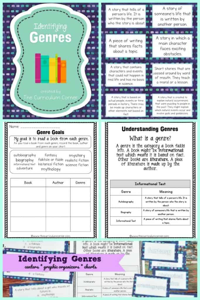 FREE Identifying Genres Collection from The Curriculum Corner