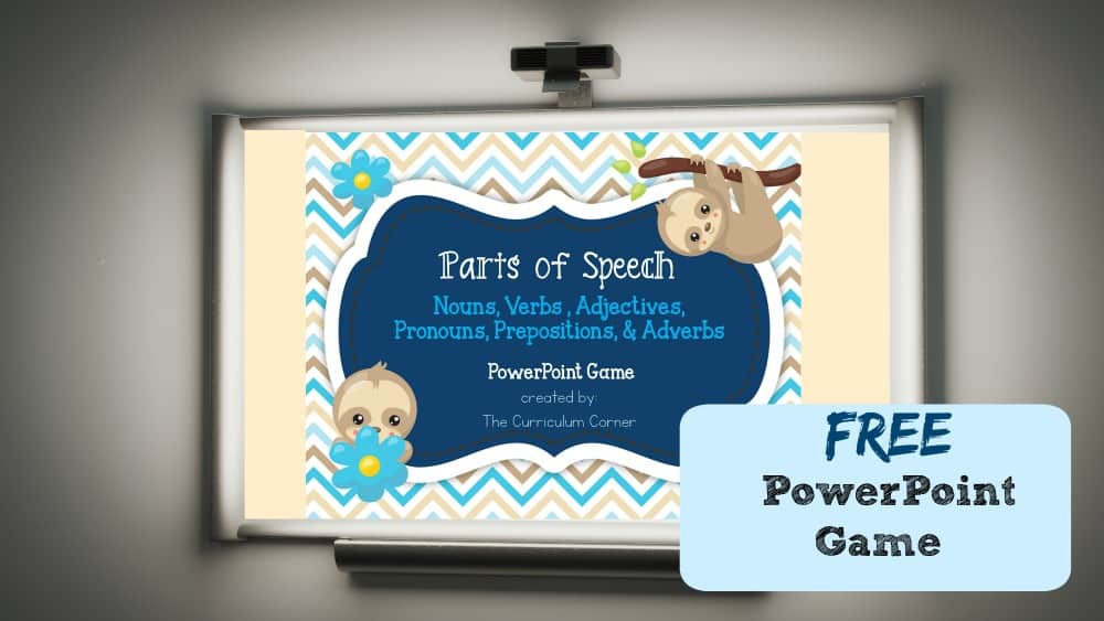 FREE Parts of Speech Game for PowerPoint | The Curriculum Corner | Nouns, Verbs, Adjectives, Adverbs, Prepositions, Pronouns