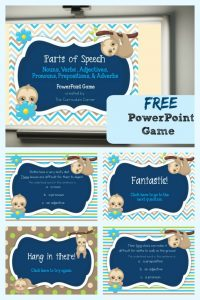 FREE Parts of Speech PowerPoint Game | The Curriculum Corner | Nouns, Verbs, Adjectives, Adverbs, Prepositions, Pronouns