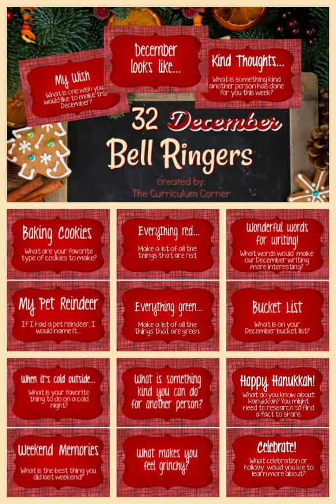 FREE December Bell Ringers Morning Welcome Prompts from The Curriculum Corner