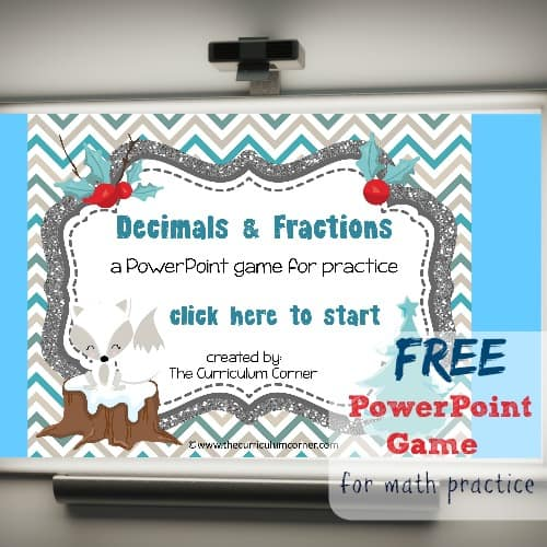 Winter Decimals & Fractions PowerPoint Game