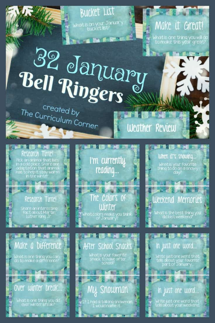 FREE January Bell Ringers from The Curriculum Corner 2