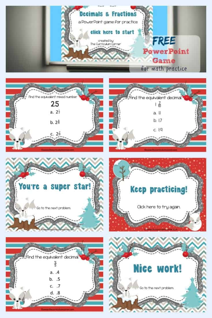 FREE Winter themed Decimals & Fractions PowerPoint Game for Fourth Grade