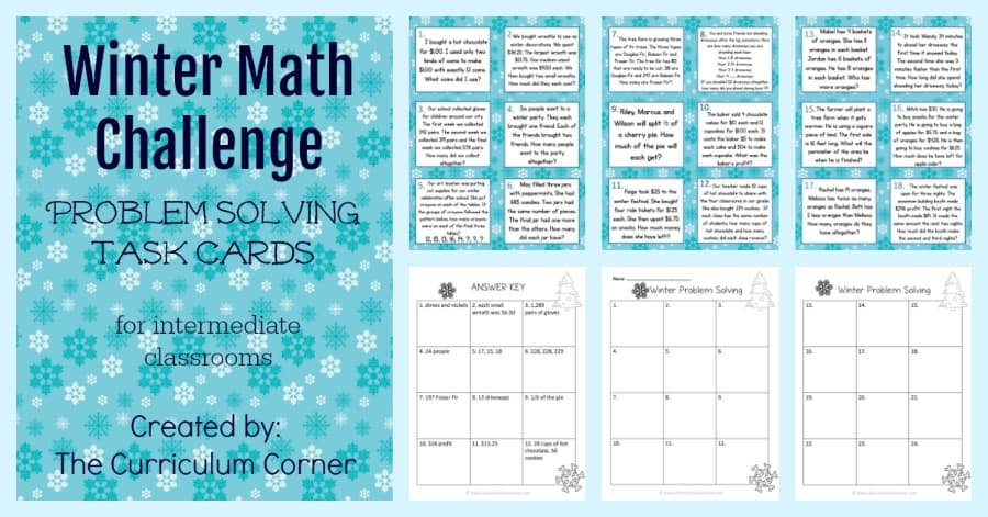 These challenging winter problem solving task cards are geared towards intermediate classrooms FREE from The Curriculum Corner.