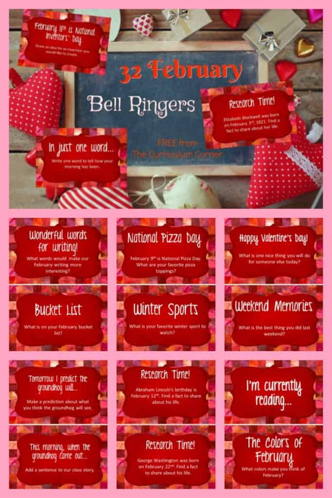 FREE February Bell Ringers from The Curriculum Corner