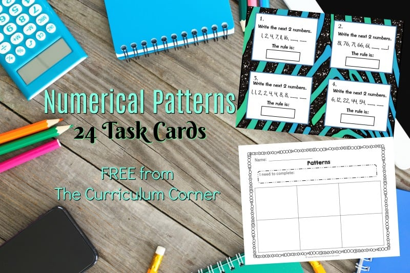 Use these free numerical patterns task cards for a math center activity or as a SCOOT game in your math classroom.